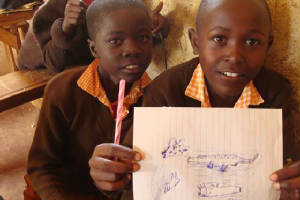 Students at Light School Uriri in Kenya- participating in the Olymp-i-a Challenge by drawing a picture of animals